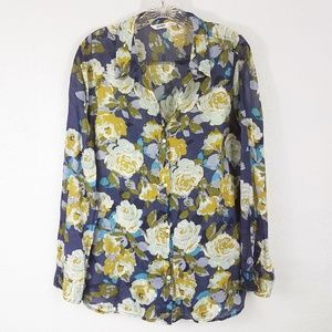 Old Navy Women's Floral Button Down Shirt Blouse